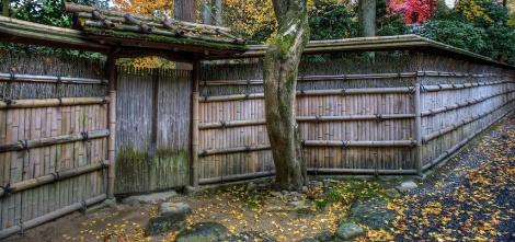 Palissade entourant le jardin d'un temple, Kyoto.