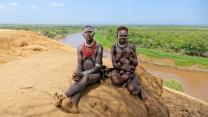 Famille kara, Vallée de l'Omo, sud de l'Éthiopie.